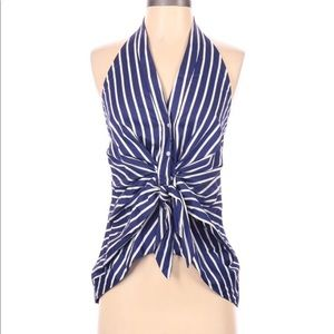 Zara Woman Navy Stripe Halter Top Blouse